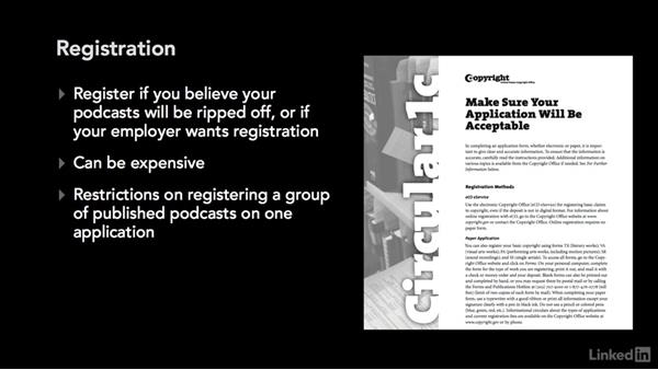 Copyright registration: Podcasting: Business and Law