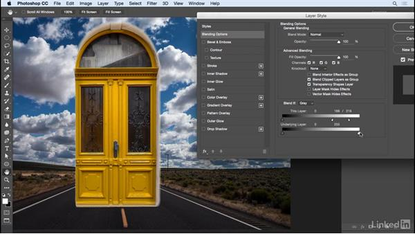 Adjusting the Blend If sliders: Learn Photoshop Compositing: Ten-Minute Techniques