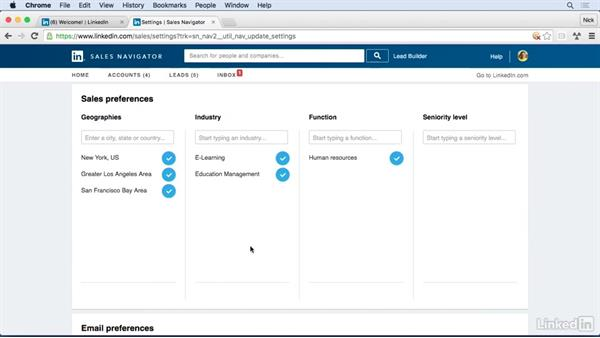 Review important settings: Learn LinkedIn Sales Navigator: The Basics