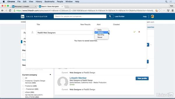 Save searches: Learn LinkedIn Sales Navigator: The Basics