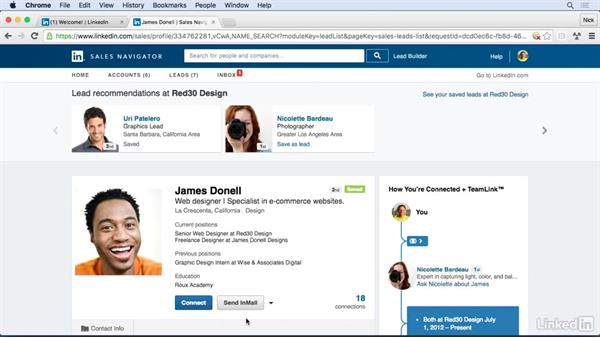 Gain information from member profiles: Learn LinkedIn Sales Navigator: The Basics