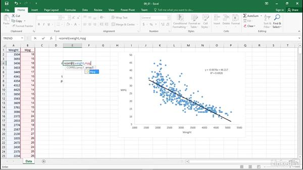 Perform correlation: Statistics with Excel Part Two