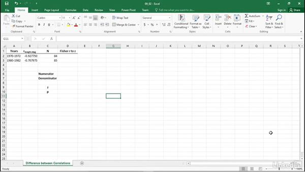 Compare two correlation coefficients: Statistics with Excel Part Two