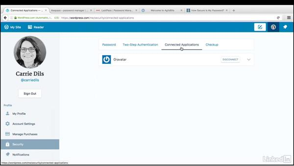 Manage security and notifications: WordPress.com Essential Training