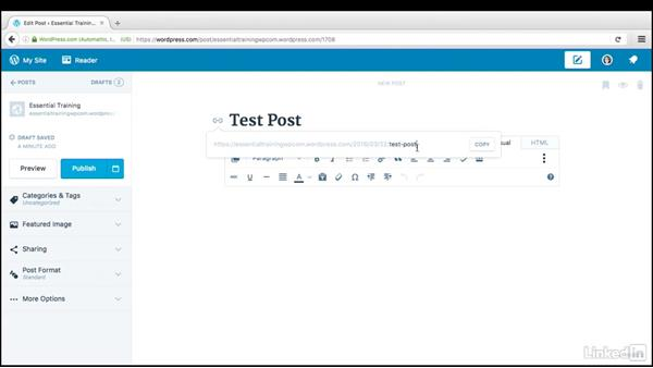 Get familiar with the post screen: WordPress.com Essential Training