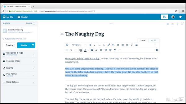 Advanced text formatting: WordPress.com Essential Training