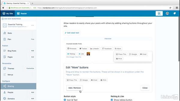 Set up sharing options: WordPress.com Essential Training