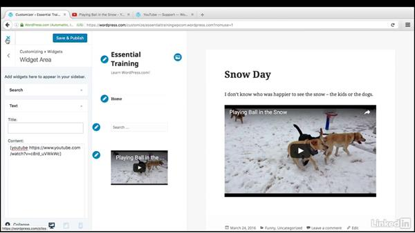 Add videos to widgets and comments: WordPress.com Essential Training