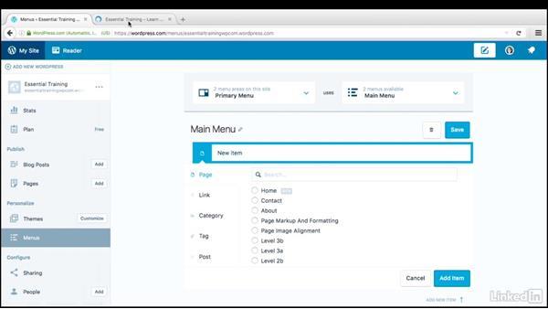 Create custom menus: WordPress.com Essential Training
