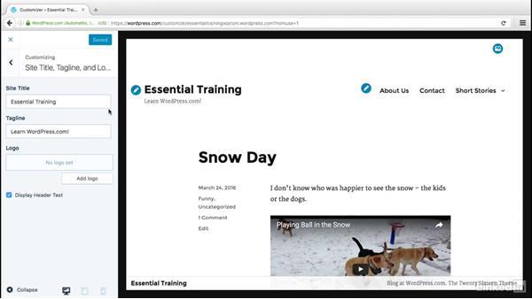 Explore the theme customizer: WordPress.com Essential Training