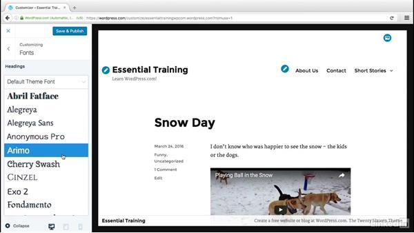 Use the theme customizer: WordPress.com Essential Training