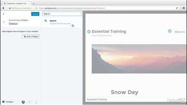 Use widgets: WordPress.com Essential Training
