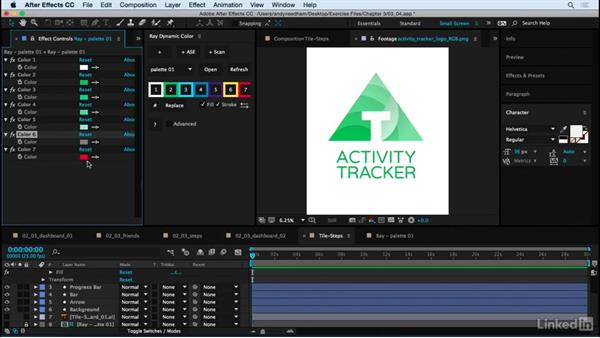 Add final touches to the Dashboard tiles: After Effects: Creating a Mobile App Interface