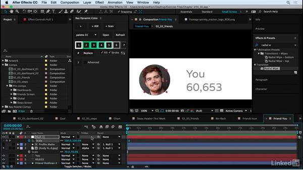 Animate the Friends screen: After Effects: Creating a Mobile App Interface