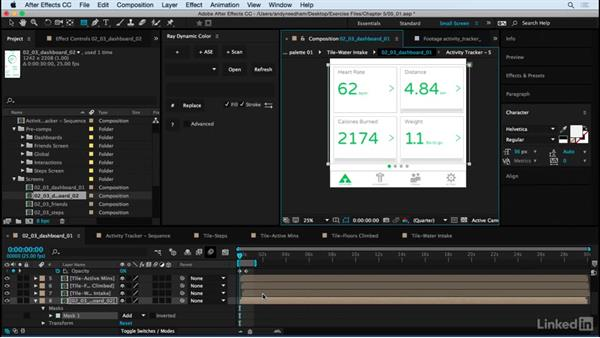 Swiping the Dashboard screens: After Effects: Creating a Mobile App Interface