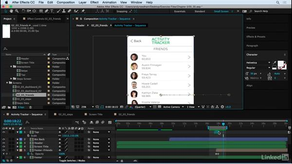 See the Friends screen and back to the Dashboard: After Effects: Creating a Mobile App Interface