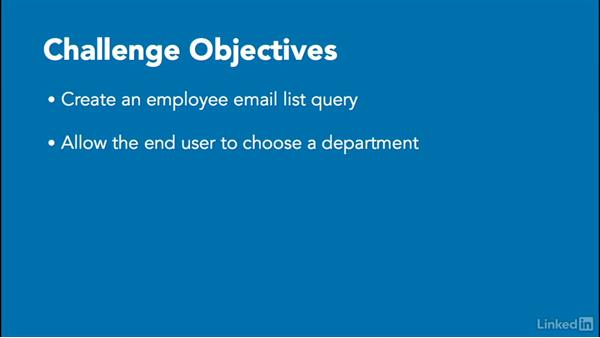 Challenge: Gather employee emails based on department: Access 2016: Queries in Depth