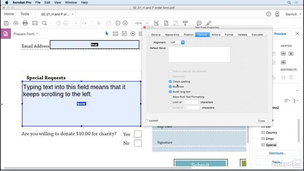 Add multiline text fields: Acrobat DC: Create Forms