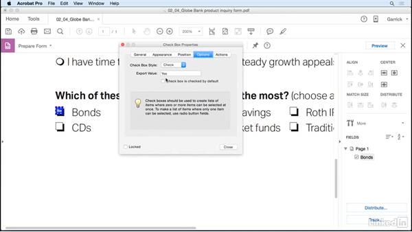 Add check boxes: Acrobat DC: Create Forms