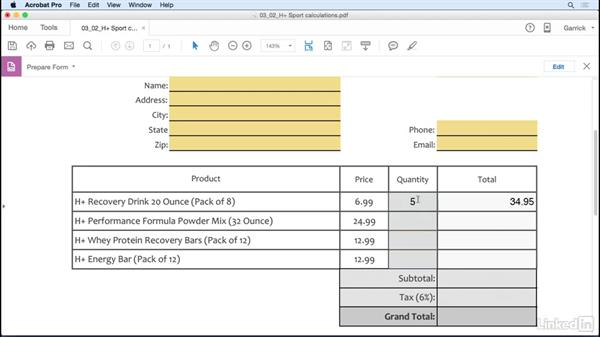 Calculate fields: Acrobat DC: Create Forms