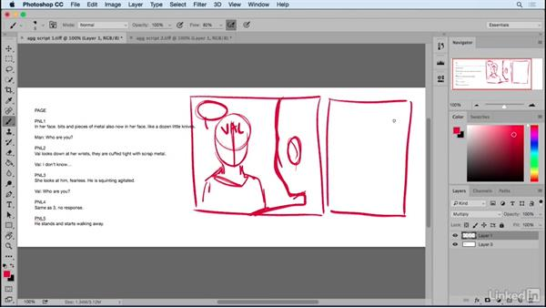 Using a script to begin laying out your page: Designing Dynamic Layouts with Text and Dialog in Comics