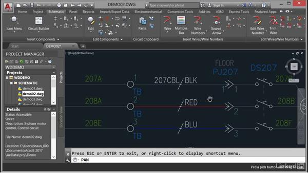 Using pan: AutoCAD Electrical Essential Training
