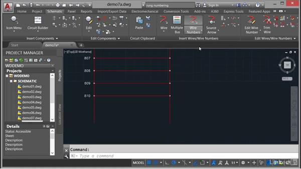 Source and destination signal arrows: AutoCAD Electrical Essential Training