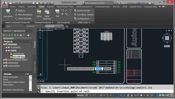 Using the DIN Rail command: AutoCAD Electrical Essential Training