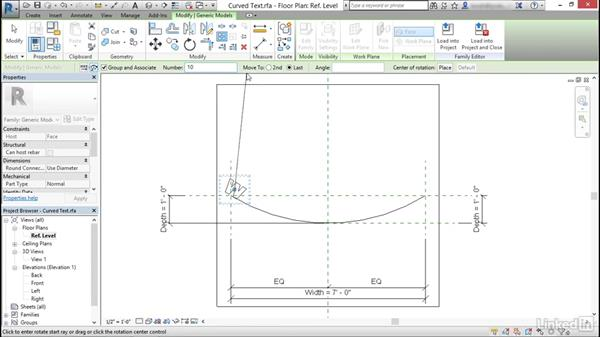 Curved text in the traditional Family Editor: Revit: Create Signage Plans