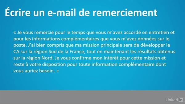Mail remerciement entretien start up