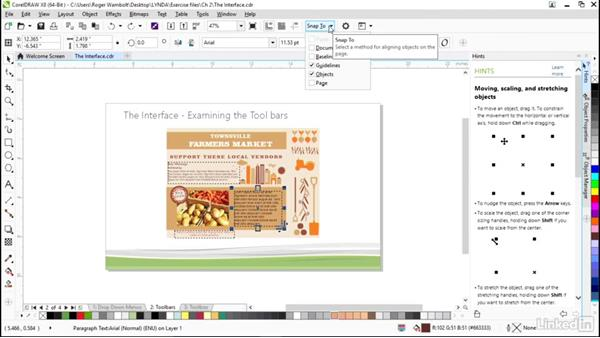 Locating the toolbar and the toolbox: CorelDRAW X8 Essential Training