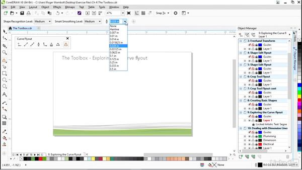 Exploring the Curve flyout: CorelDRAW X8 Essential Training