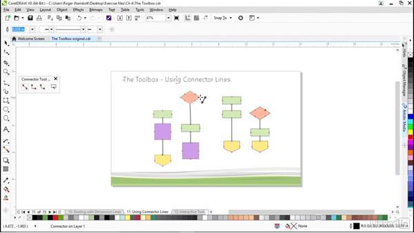 Using connector lines: CorelDRAW X8 Essential Training