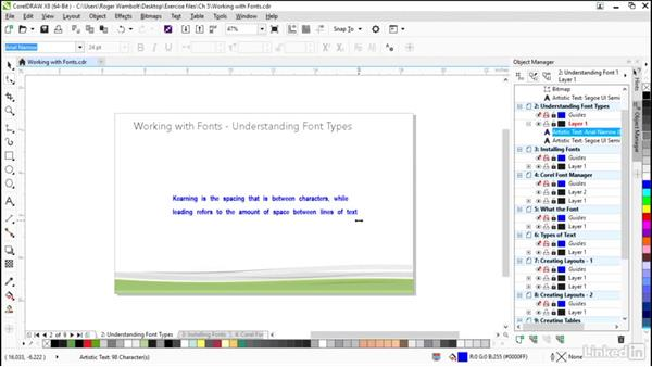 Understanding font types: CorelDRAW X8 Essential Training