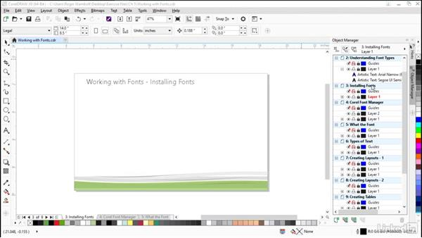 Installing fonts: CorelDRAW X8 Essential Training