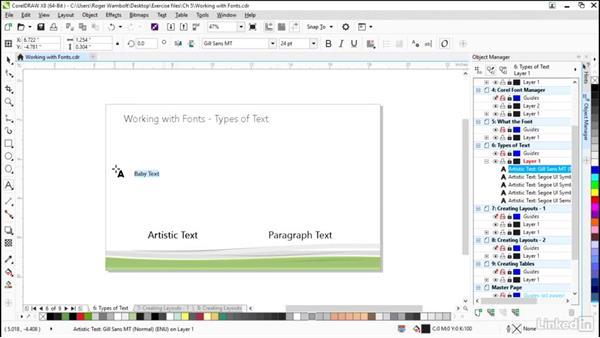 Types of text: CorelDRAW X8 Essential Training