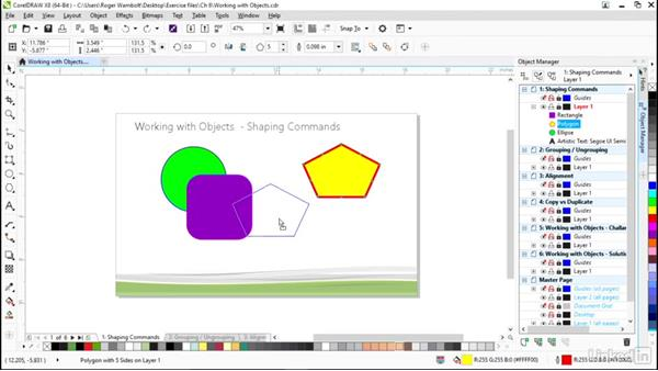 Shaping commands, including combine and weld: CorelDRAW X8 Essential Training