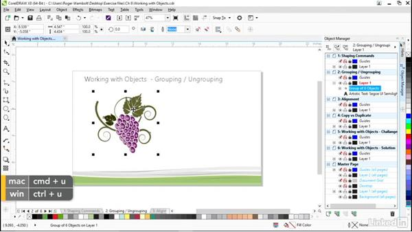 Grouping and ungrouping: CorelDRAW X8 Essential Training