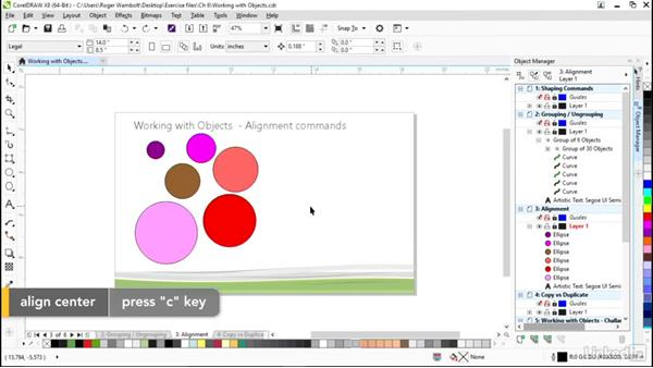 Alignment commands and alignment guides: CorelDRAW X8 Essential Training