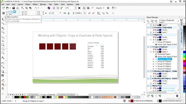 Copying versus duplicate and paste special: CorelDRAW X8 Essential Training