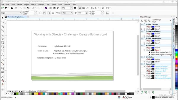 Challenge: Create a business card: CorelDRAW X8 Essential Training
