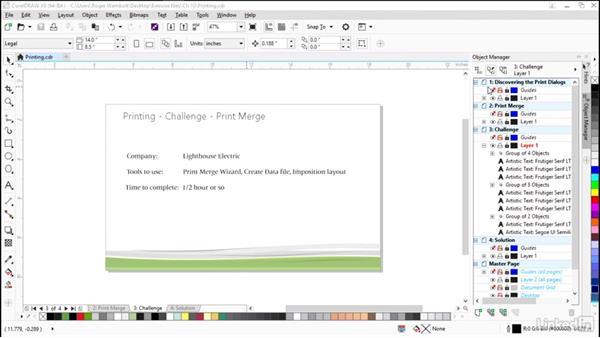 Challenge: Print merge: CorelDRAW X8 Essential Training