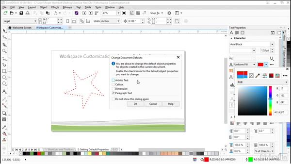 Setting and resetting default properties: CorelDRAW X8 Essential Training