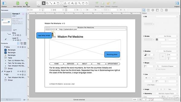 Use layers to organize the wireframe: UX Design Tools: OmniGraffle 6