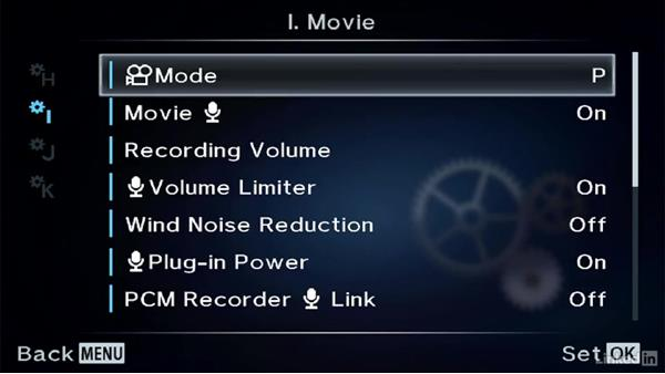 Adjusting movie record settings: Olympus OM-D Cameras: Tips and Techniques
