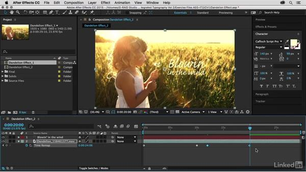 Modifying the timing with time remap: After Effects Guru: Integrating Type into Video Volume 2