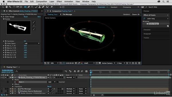 Isolating the bottle using color range: After Effects Guru: Integrating Type into Video Volume 2