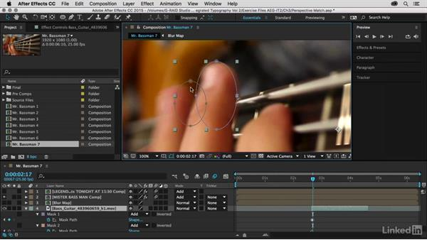 Rotoscoping fingers using masks: After Effects Guru: Integrating Type into Video Volume 2