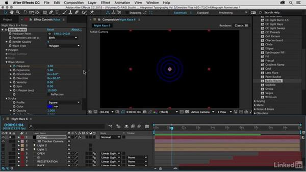 Creating the pulse effect using radio waves: After Effects Guru: Integrating Type into Video Volume 2