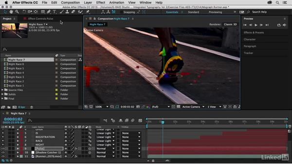 Placing pulses under a runner's steps: After Effects Guru: Integrating Type into Video Volume 2
